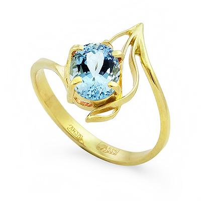 Кольцо в желтом золоте с аквамарином 2.28 г D-109-228