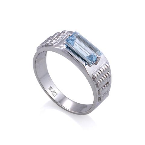 Мужское кольцо с аквамарином / Мужской перстень с аквамарином  6.97 г SL-6191-698